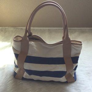 Like New Merona Striped Canvas Bag